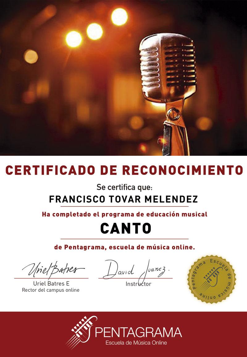 certificate con el sistema vocal master