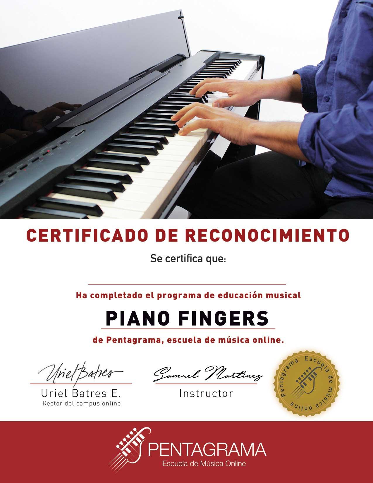 certificate con el sistema piano master