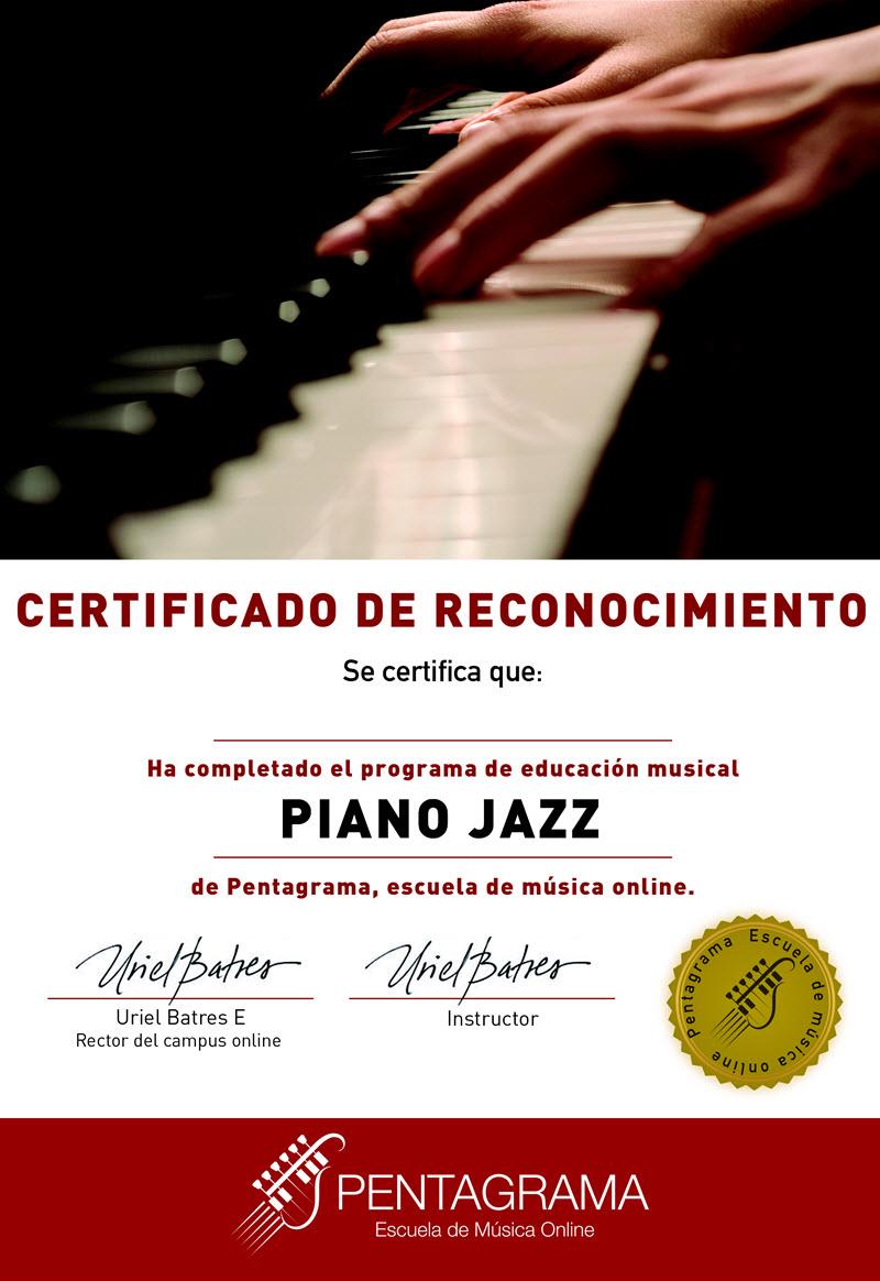 certificate con el sistema piano jazz master